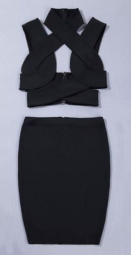 Ziva Black Cutout Two Piece Bandage Dress