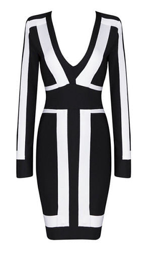 Zurie Black and White Bandage Dress