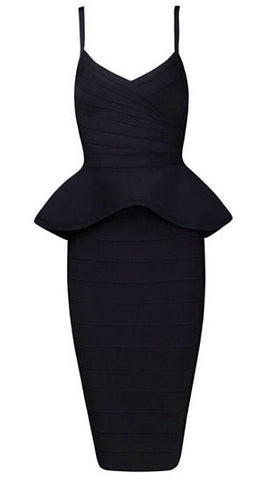 Alley Black Two-Piece Bandage Dress