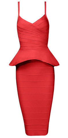 Alley Red Two-Piece Bandage Dress