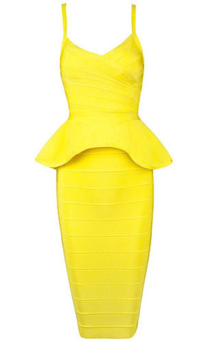 Alley Yellow Two-Piece Bandage Dress