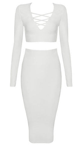 Alma White Lace Up Front Two Piece Bandage Dress