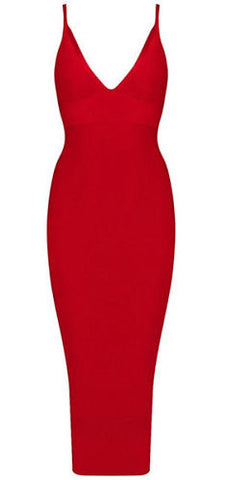 Angelia Sexy Neckline Bandage Dress - Red
