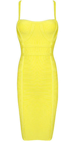 Ariel Yellow Mini Bandage Dress