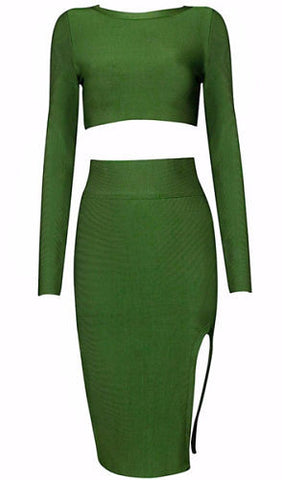 Bria Green Two-Piece Bandage Dress