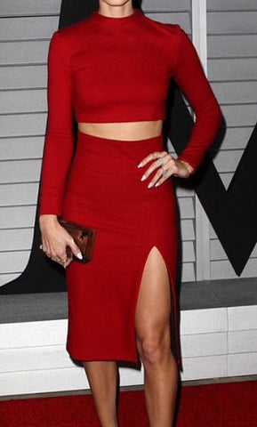 Bria Red Two-Piece Bandage Dress