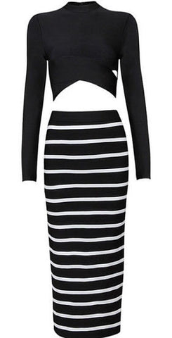 Black and White Two-Piece Bandage Dress