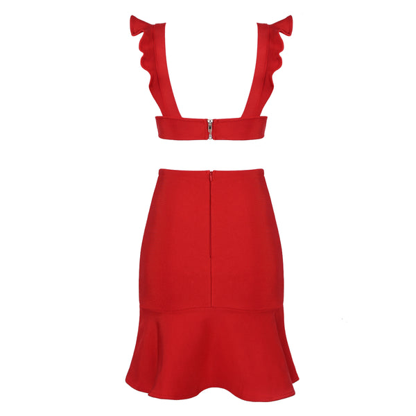 Caitlyn Mini Sleeveless Party Bandage Dress- Red