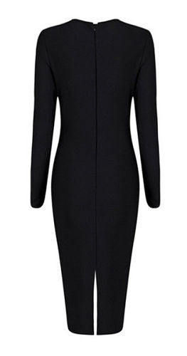 Cameron Black Cutout Detail Long Sleeve Dress