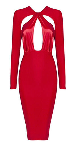 Cameron Red Cutout Detail Long Sleeve Dress
