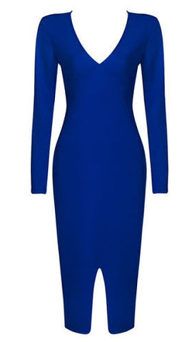 Charlotte Blue Long Sleeve Bandage Dress
