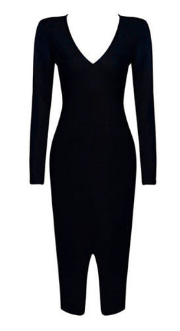 Charlotte Black Long Sleeve Bandage Dress