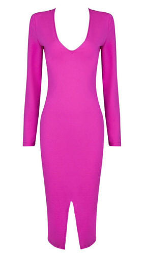 Charlotte Pink Long Sleeve Bandage Dress