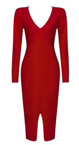 Charlotte Red Long Sleeve Bandage Dress
