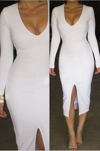Charlotte White Long Sleeve Bandage Dress