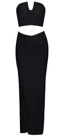 Claudia Black Maxi Two Piece Bandage Dress