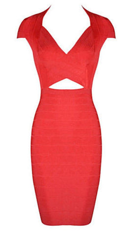 Courtney Red Cap Sleeve Bandage Dress
