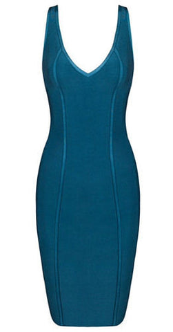 Cristina Blue V-Neck Bandage Dress