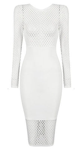 Edlynn White Mesh Bandage Dress