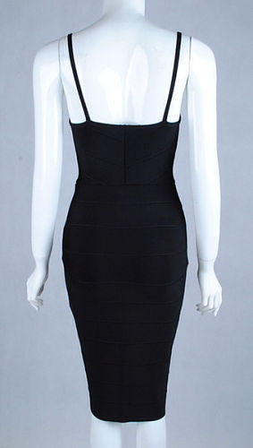 Emily Black Zip Front Bandage Dress