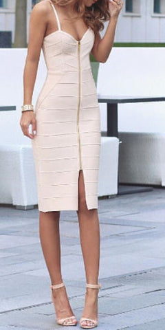 zip front bandage dress