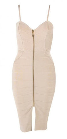 Emily Nude Zip Front Bandage Dress