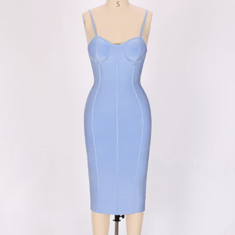Agata Blue Sleeveless Bandage Dress