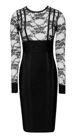 Frida Black Lace Bandage Dress