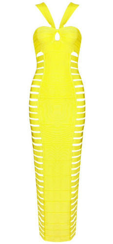 Gwen Yellow Halter Neck Cut Out Bandage Dress