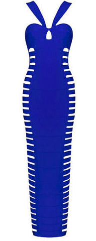 Gwen Blue Halter Neck Cut Out Bandage Dress