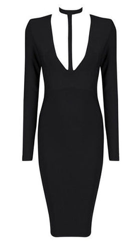Gina Black Plunge V Neckline Bandage Dress