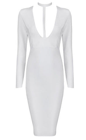 Gina White Plunge V Neck Bandage Dress