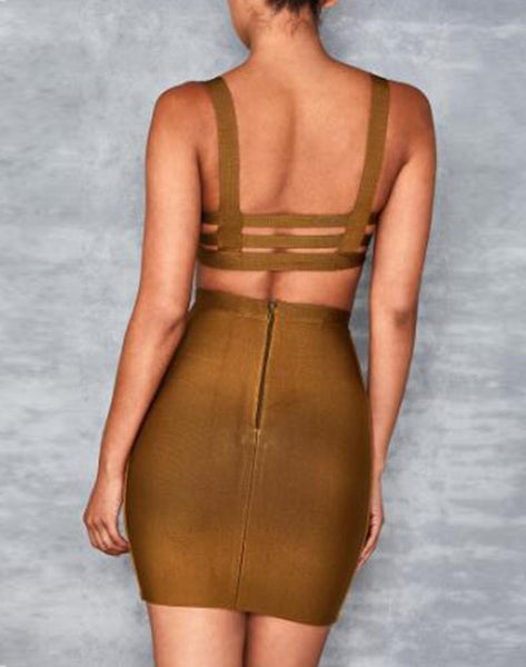 Ginger Open Back Sleeveless Two Piece Bandage Dress
