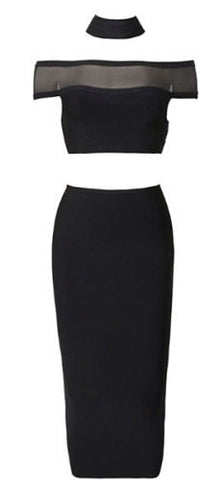 Giselle Black Off Shoulder Two Piece Bandage Dress