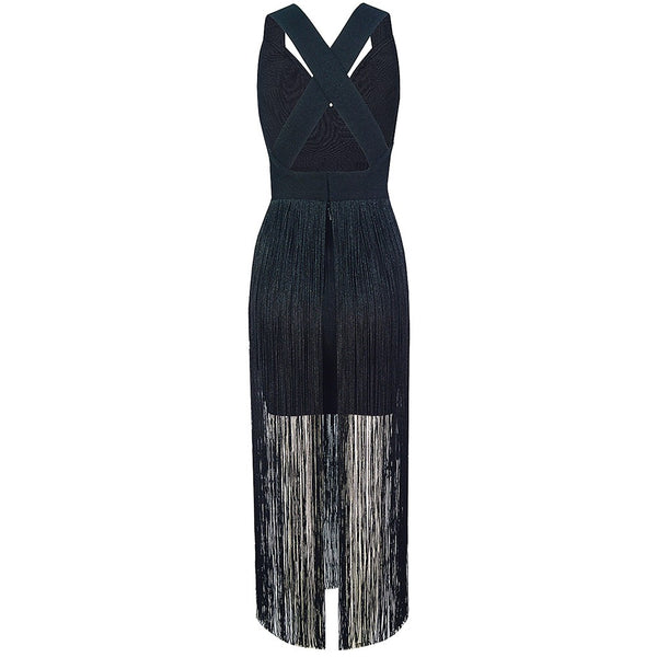 Lucienne Black Cross Back Tassel Midi Dress