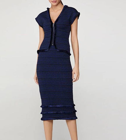 Delilah Dark Blue Striped Midi Short Sleeve Dress Set