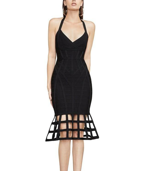 Betty Black Halter Sleeveless Bandage Dress