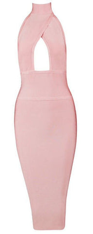 Eliana Light Pink Halter Neck Dress
