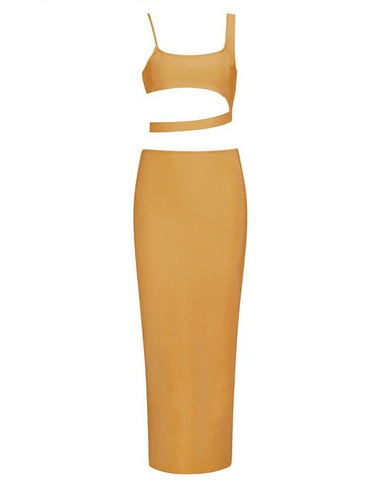 Jolene Ginger Asymmetric Two Piece Midi Set