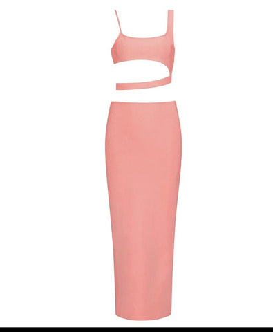 Jolene Pink Asymmetric Two Piece Midi Set