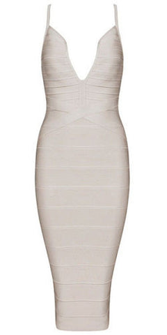Heather Beige Deep V Neckline  Bandage Dress