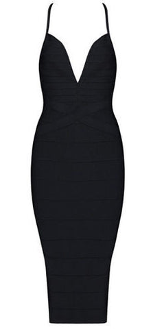 Heather Black Deep V Neckline  Bandage Dress