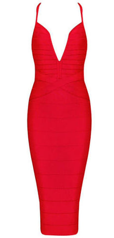 Heather Red Deep V Neckline  Bandage Dress