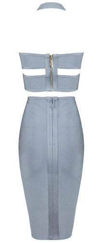 gray two piece dress