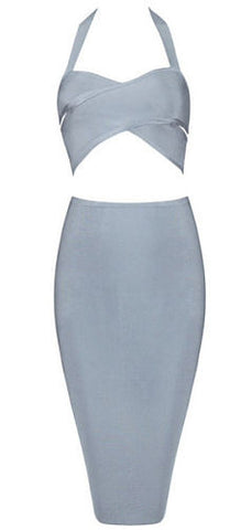 Heidi Gray Two Piece Bandage Dress
