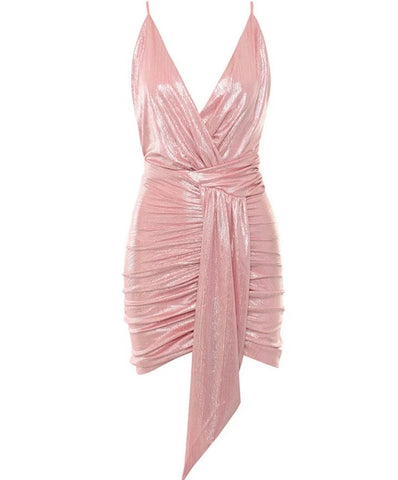 Adrien Pink Backless Mini V Neck Dress