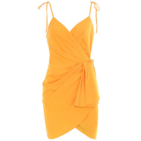 Clarah Yellow Sleeveless Lace Up Mini Dress