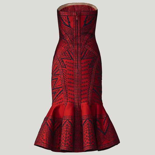 Elisabeth Red Strapless Jacquard Bandage Dress