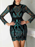 Kristanna Green Long Sleeve Mini Sequins Dress