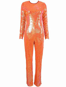 Aaliyah Orange Long Sleeve Sparkly Sequin Jumpsuit